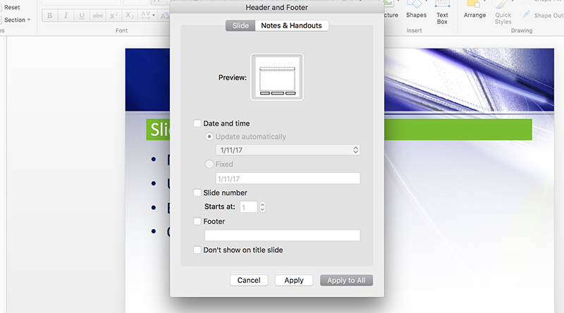 Slide Number options in PowerPoint for Mac