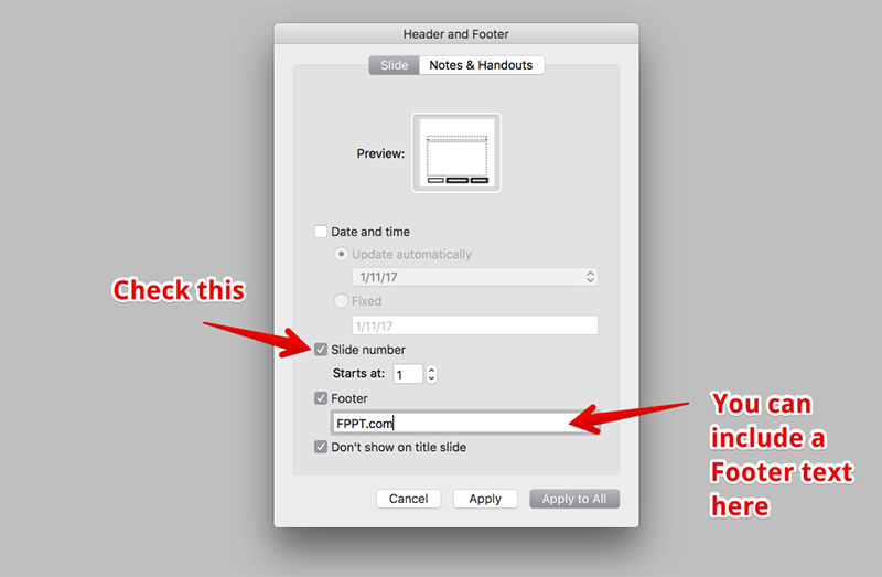 Customizing the Slide Number in PowerPoint for Mac