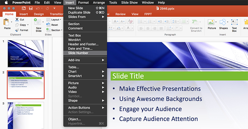 Insert Slide Number in PowerPoint