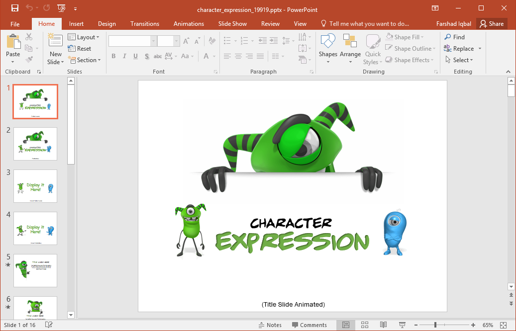 powerpoint template 3d monster -#main