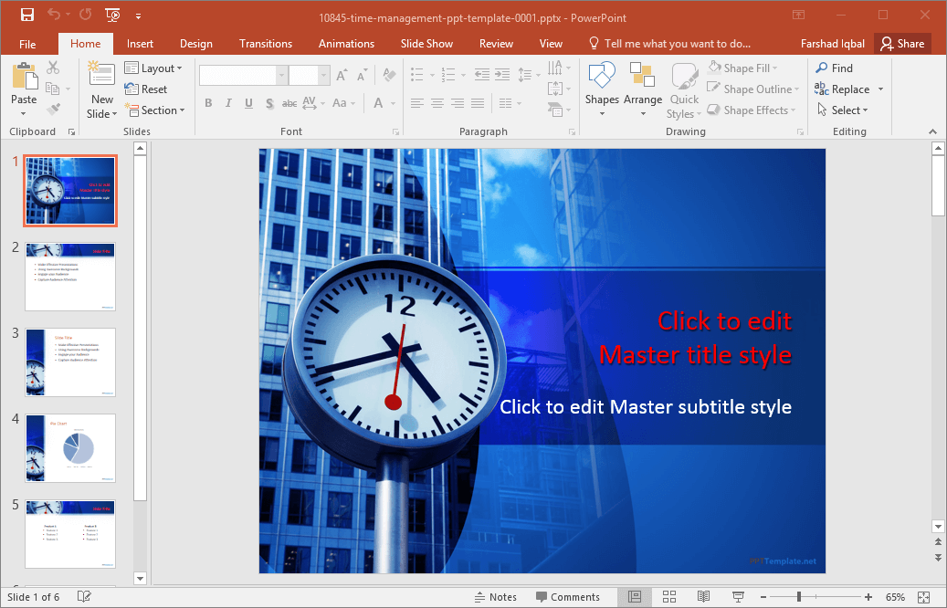 free time management powerpoint template