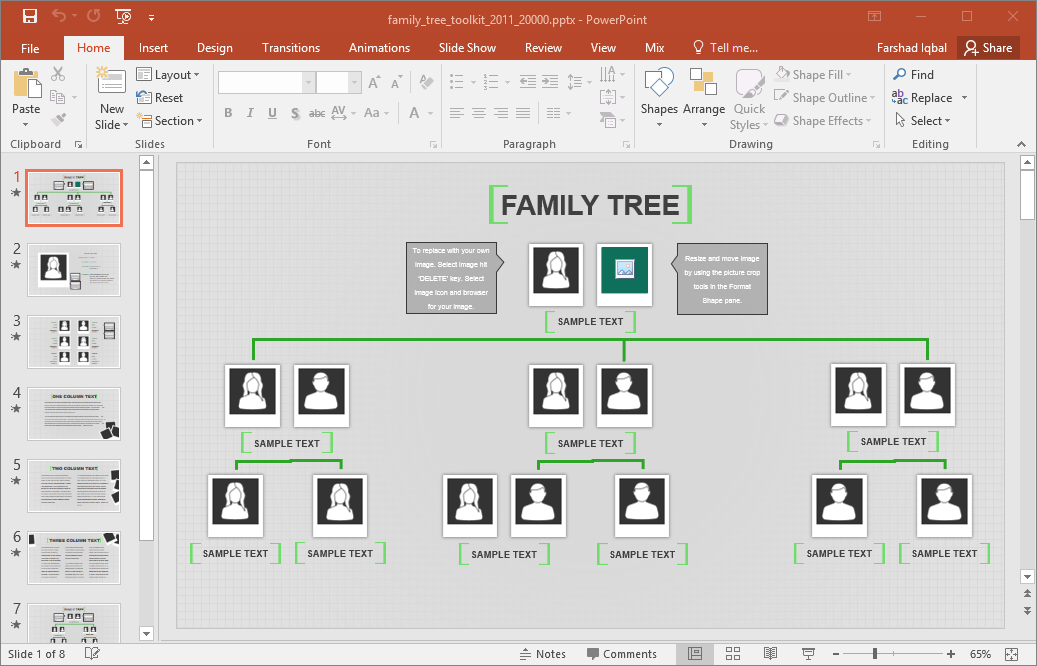 Charming The Template Provides Various Sample Family Trees That You Can Easily Edit  For Depicting A Hierarchy. There Is Even Space For Adding Pictures Of  Individuals ...