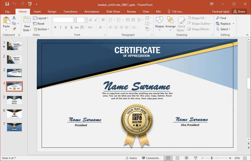 Animated certificate powerpoint template for How to make my own powerpoint template