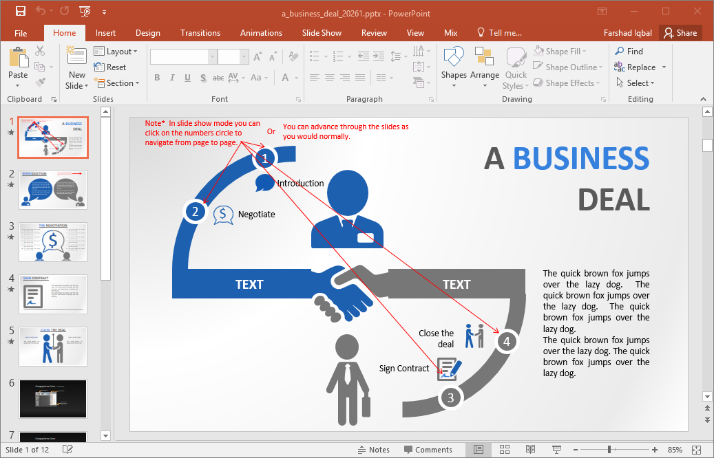 Animated business deal powerpoint template for How to create power point template
