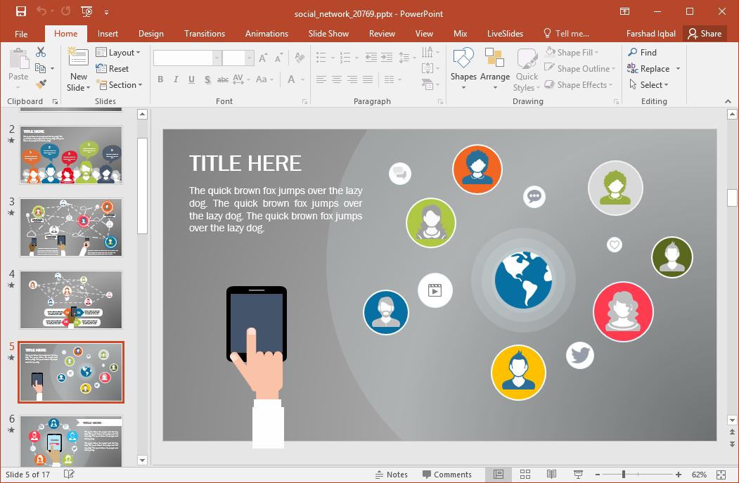 Animated social network powerpoint template definitely templates like this should be considered as one of the best presentation templates out there toneelgroepblik Choice Image