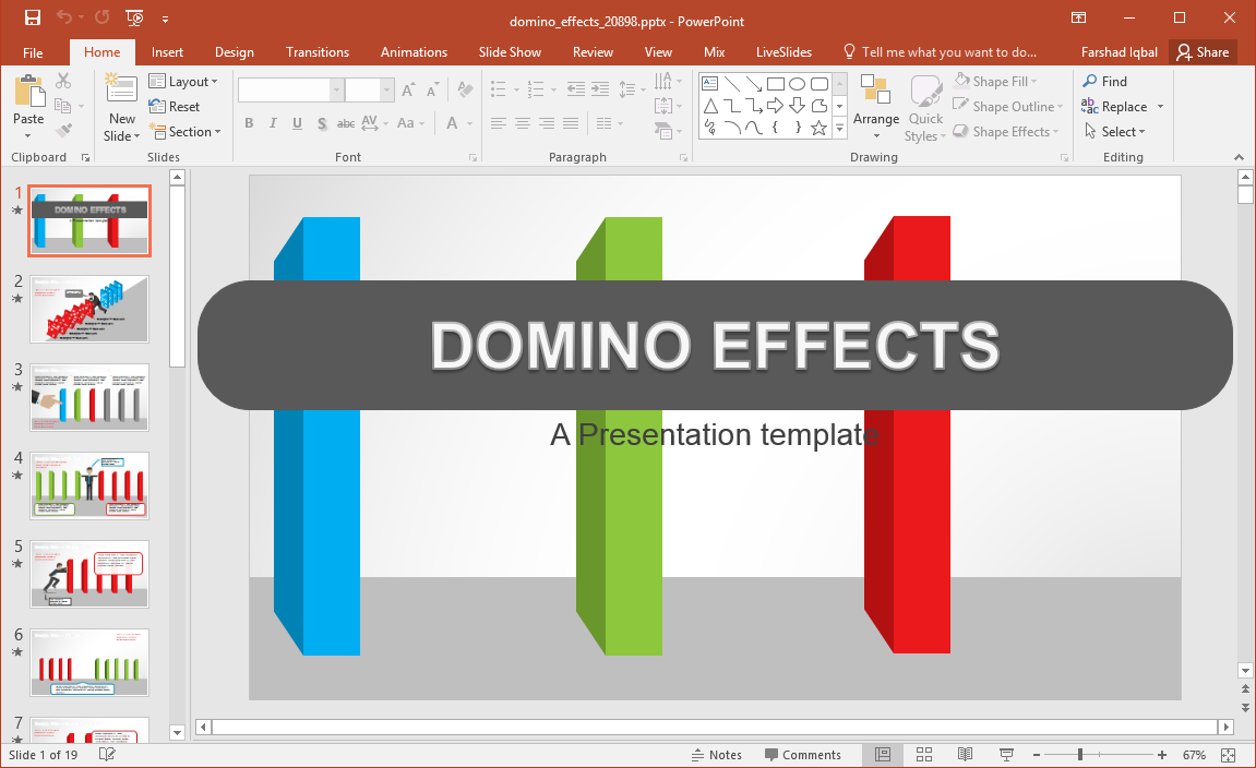 animated domino effects powerpoint template