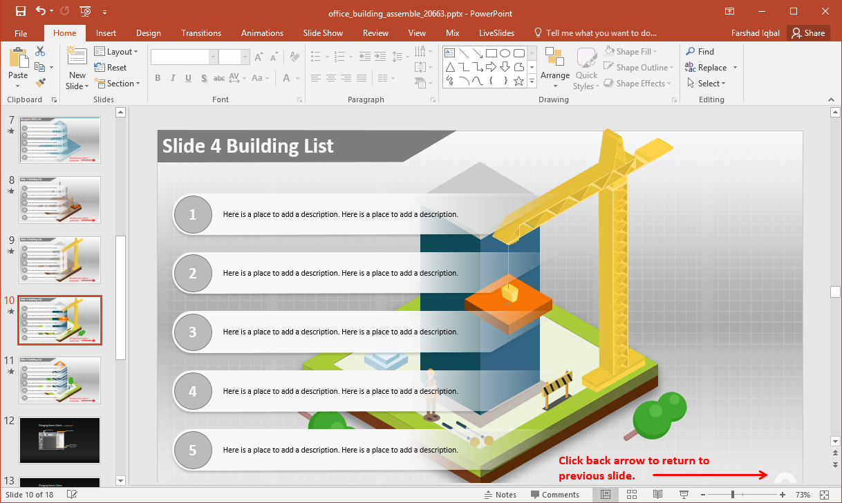 bulleted list with building illustration