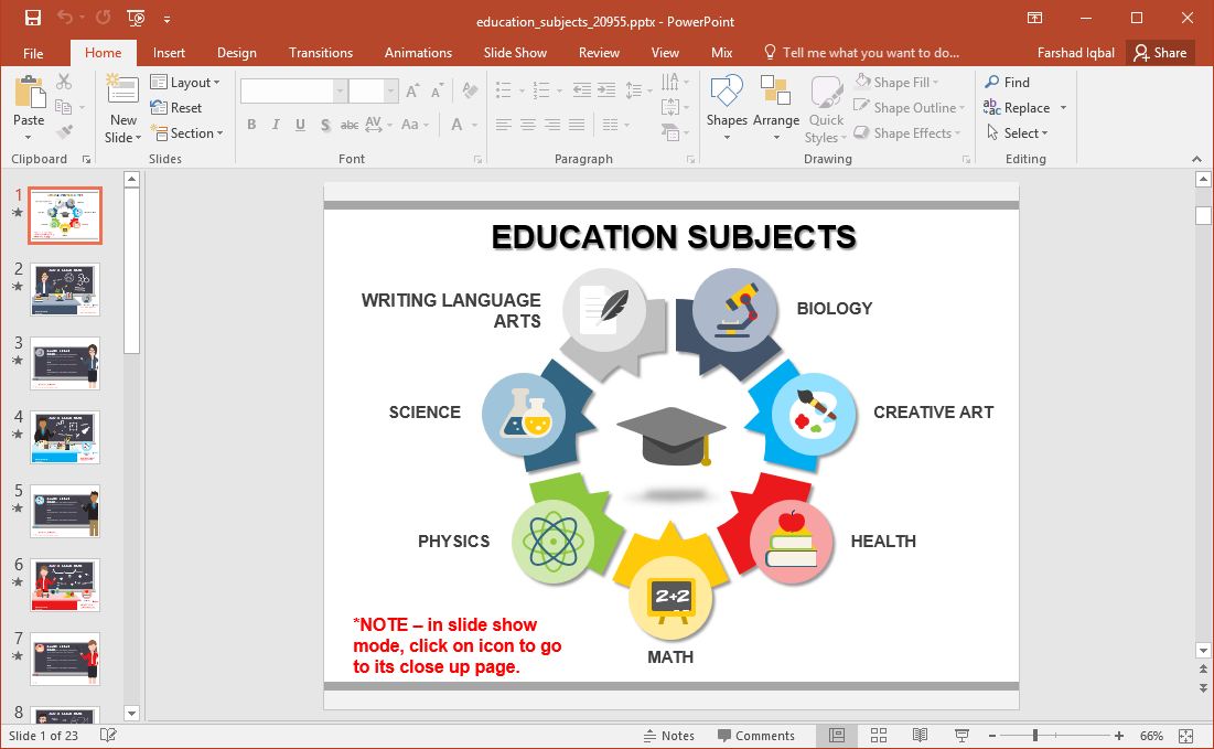animated education subjects powerpoint template
