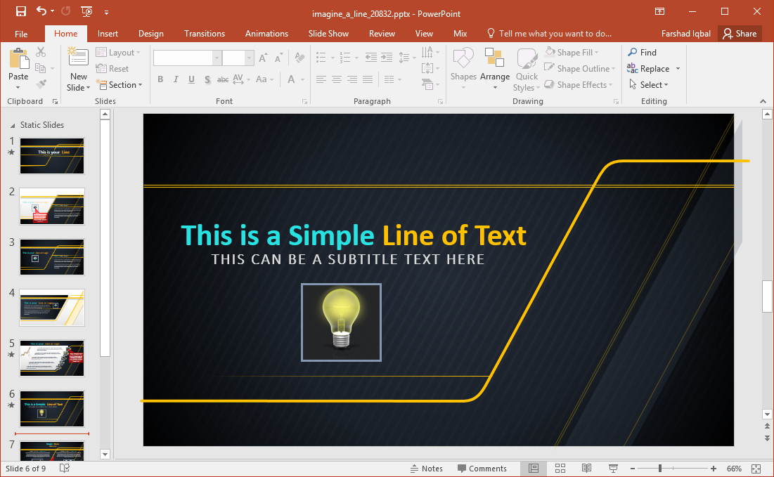 imagine a line powerpoint template