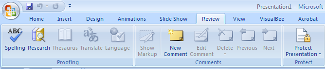 Review tab in PowerPoint