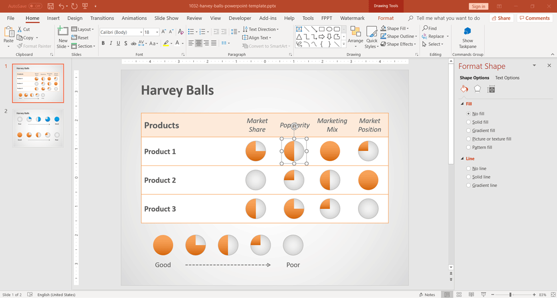 Free Harvey Balls for PowerPoint Presentations