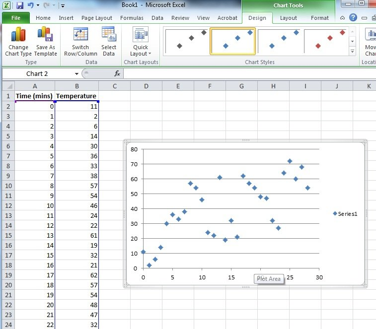 How to make scatter chart from excel data