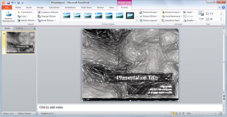 How to apply artistic effects in PowerPoint 2010 grayscale