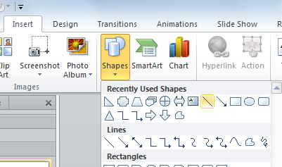 Drawing lines in PowerPoint