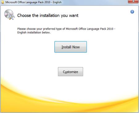 Installing Microsoft Office Language Pack 2010 English