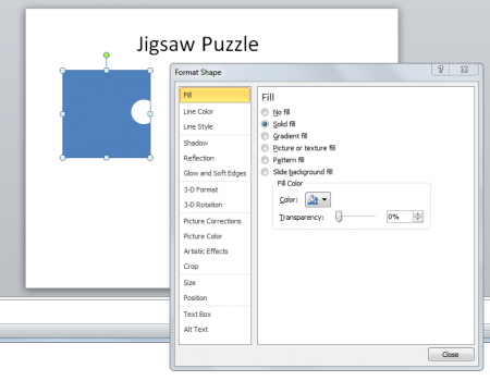 Create a jigsaw puzzle piece in powerpoint using shapes ccuart