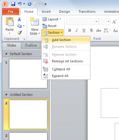 Organize your PowerPoint presentations using sections