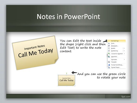 create a sticky note in powerpoint using shapes and styles, Presentation templates
