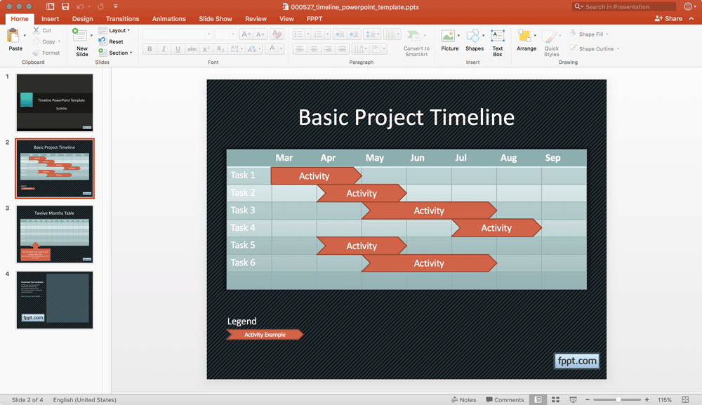 A basic timeline in powerpoint using shapes and tables basic powerpoint timeline design for presentations toneelgroepblik