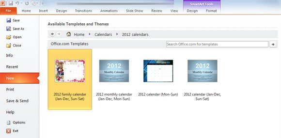 How To Create A Calendar In Powerpoint 2010