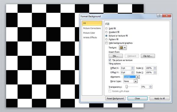 How to use a checkerboard background in PowerPoint