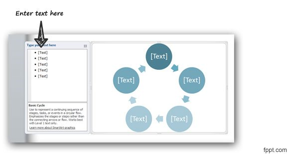 a circular flow diagram in PowerPoint 2010