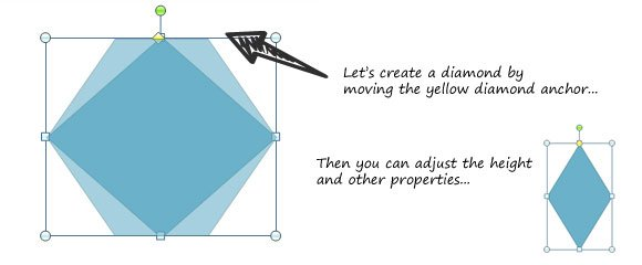 Diamond Polygon created with PowerPoint shapes