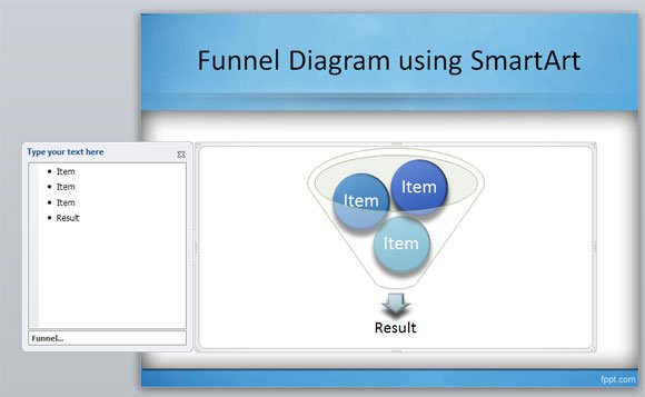 create a funnel diagram in powerpoint using smartart, Modern powerpoint