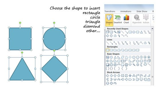 how to draw basic geometry shapes in powerpoint 2010