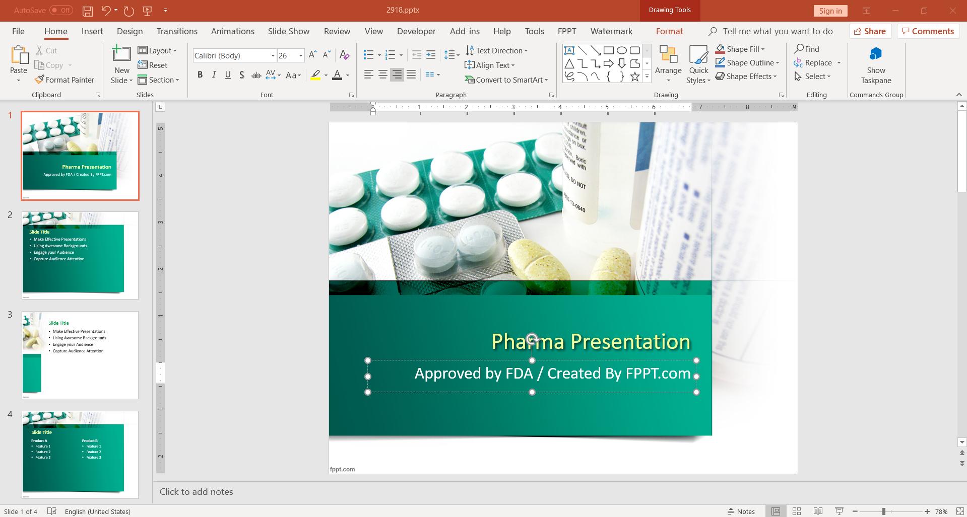 Pharma presentation FDA template design