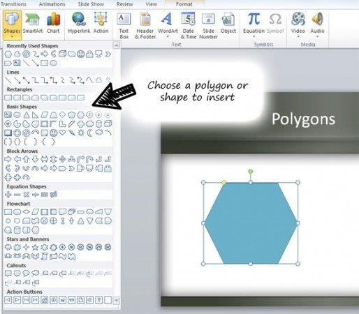 Polygon shape created with Microsoft PowerPoint