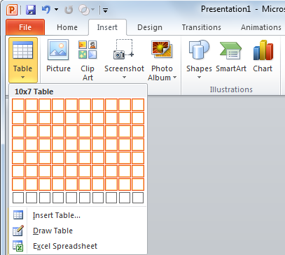 How to create a table in PowerPoint