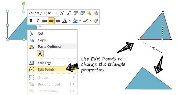 classifying triangles in powerpoint and create triangles using shapes
