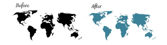 color change powerpoint world map color