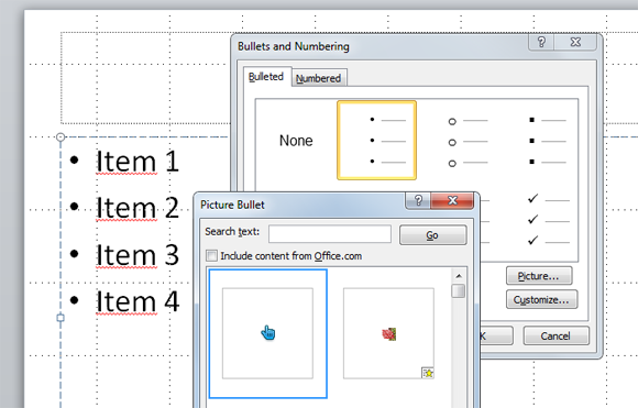 how to use custom icons as bullet point in powerpoint