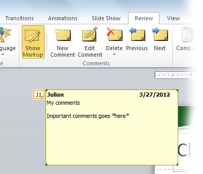 Adding comments to powerpoint