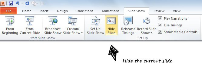 hiding slides powerpoint