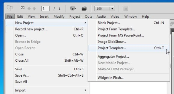 Guide to using templates in adobe captivate after selecting a template you will be asked to choose a size for your project if you are importing existing templates you can also select a preset from maxwellsz