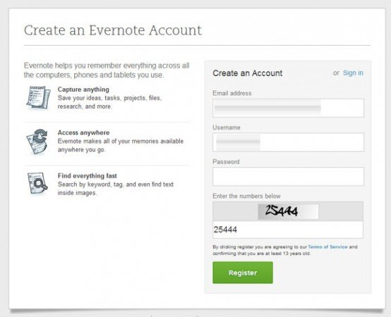create account free evernote