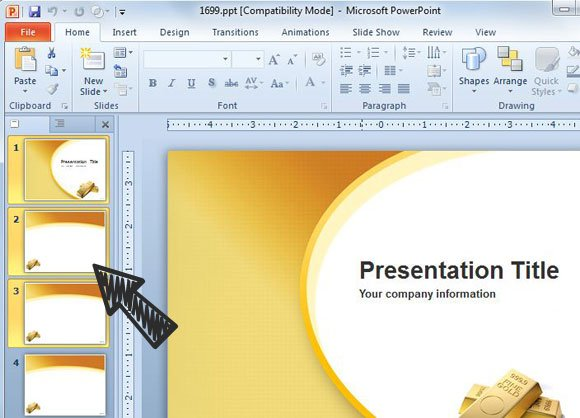 Marvelous Gold Ppt Template