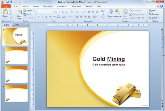 Tips to finish a powerpoint presentation gold mine extraction ppt template slide design toneelgroepblik Choice Image