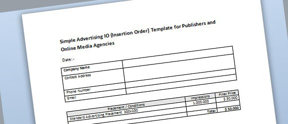 Simple Advertising Insertion Order Template For Microsoft Word