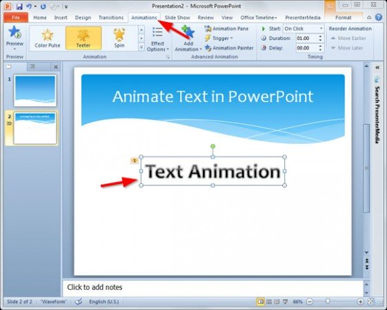 animation on ppt