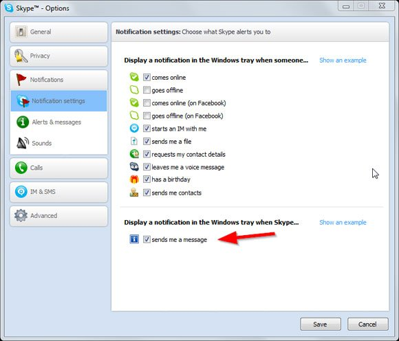 disable notifications skype
