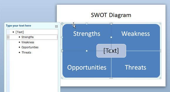How to make a swot diagram in powerpoint using smartart and shapes swot powerpoint toneelgroepblik Images