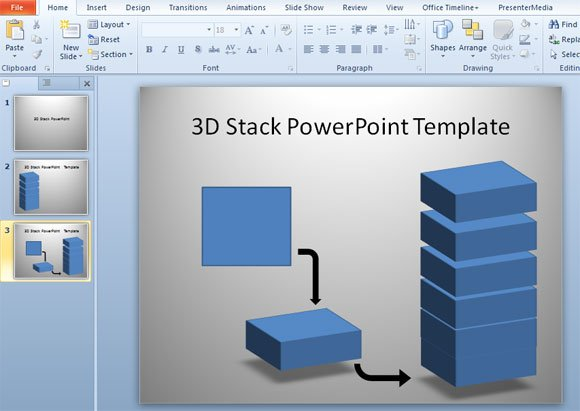 how to make 3d stack template in powerpoint using shapes
