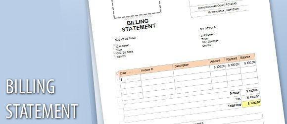 Billing Statement Template For Microsoft Word  Bill Statement Template