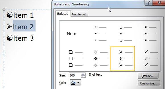 customize bullet list powerpoint