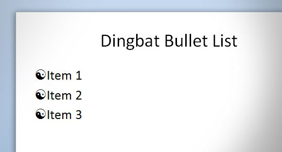 Using Dingbats in PowerPoint