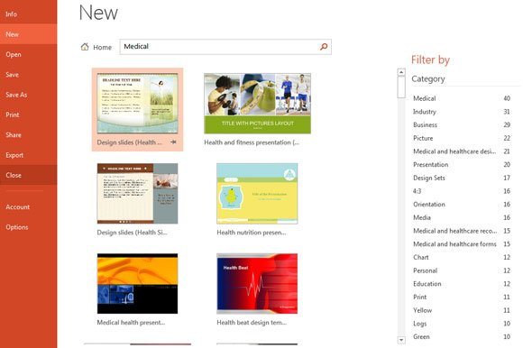 New templates in microsoft powerpoint 2013 office 15 for example if we need medical powerpoint templates then we can filter by medical category and find templates like the following ones toneelgroepblik Gallery